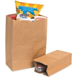 11'' x 6'' x 3 5/8'' Kraft  Grocery Bags - case of 500