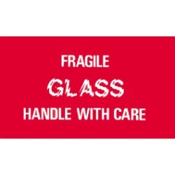 3'' x 5'' - ''Fragile - Glass - Handle With Care'' Labels - 500 per roll