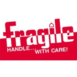 3'' x 5'' - ''Fragile - Handle With Care'' Labels - 500 per roll